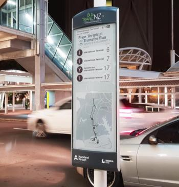 Auckland Airport Visionect E-Ink public transport sign photo