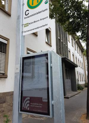 Papercast trial e-paper bus stop, Bonn, Germany