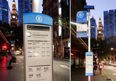 Sydney bus stops with E Ink displays by Visionect photo